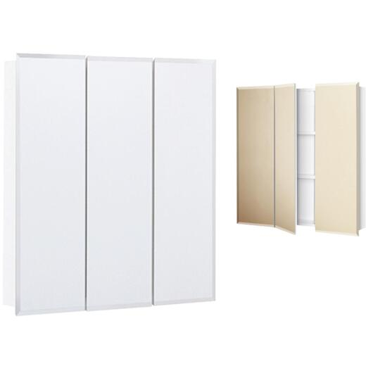 Continental Cabinets Frameless Beveled 24 In. W x 25 In. H x 4-1/4 In. D Tri-View Surface Mount Medicine Cabinet
