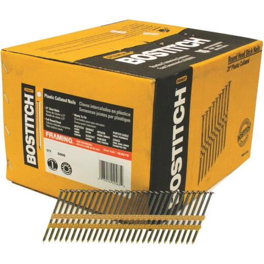 Bostitch 21 Degree Plastic Strip Hot-Dipped Galvanized Full Round Head Framing Stick Nails, 2-3/8 In. x .113 In. (5000 Ct.)