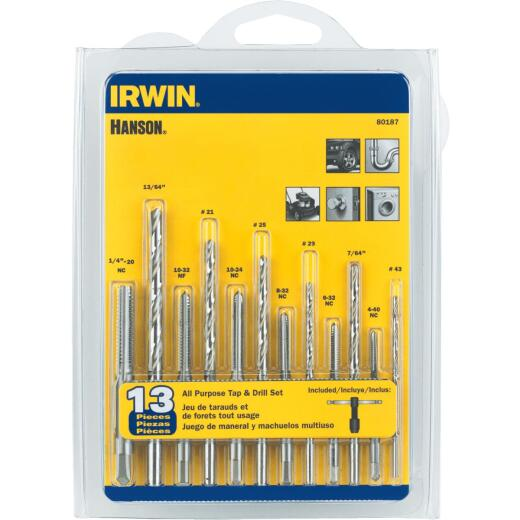Irwin Hanson 13-Piece All-Purpose Tap & Drill Bit Set