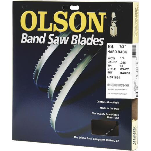 Olson 64-1/2 In. x 1/2 In. 18 TPI Wavy Hard Back Metal Cutting Band Saw Blade