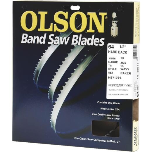 Olson 64-1/2 In. x 1/2 In. 14 TPI Wavy Hard Back Metal Cutting Band Saw Blade