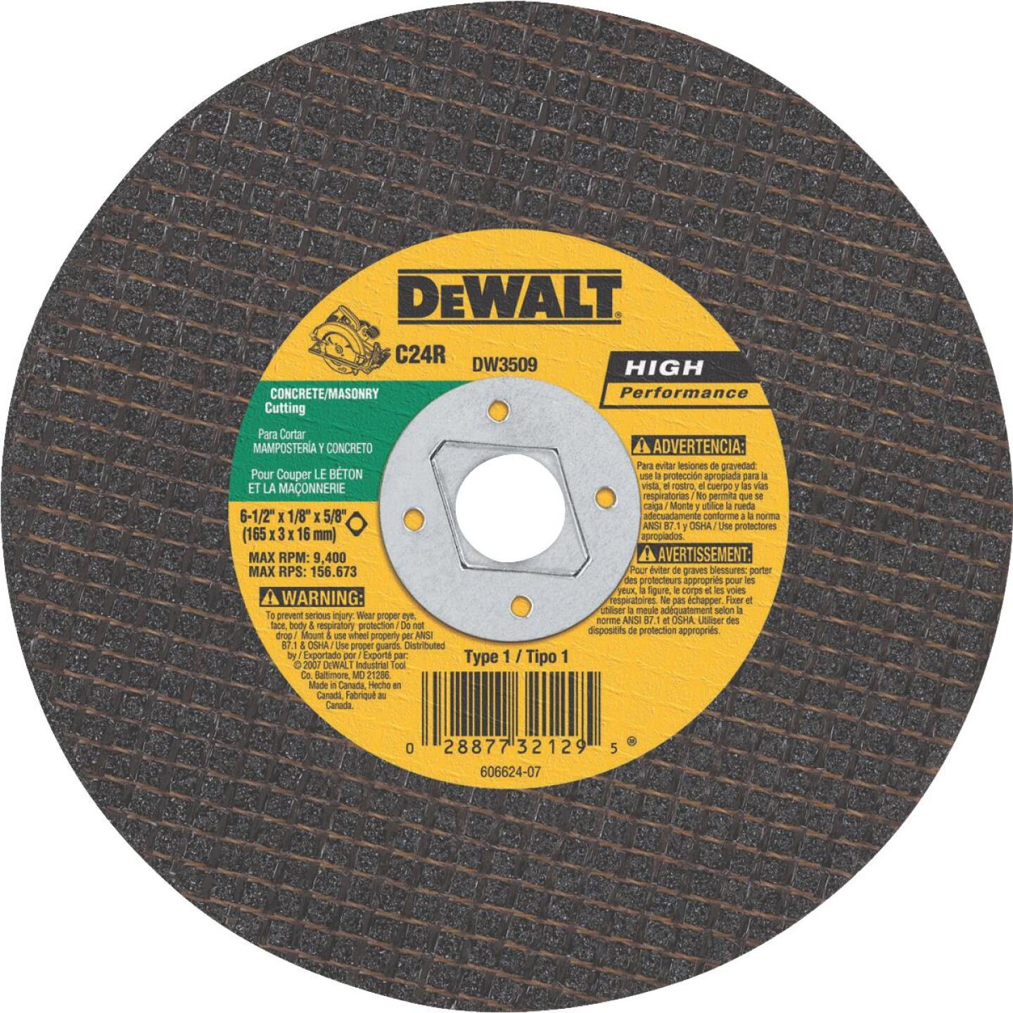 DeWalt HP Type 1 6-1/2 In. x 1/8 In. x 5/8 In. Masonry Cut-Off Wheel Image 1