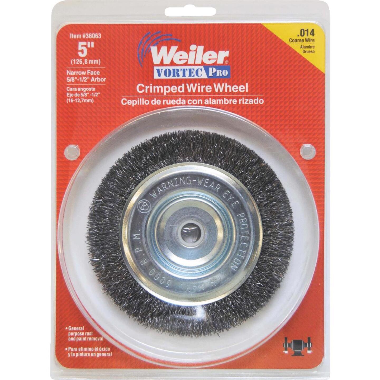Weiler Vortec 5 In. Crimped, Coarse Bench Grinder Wire Wheel Image 2