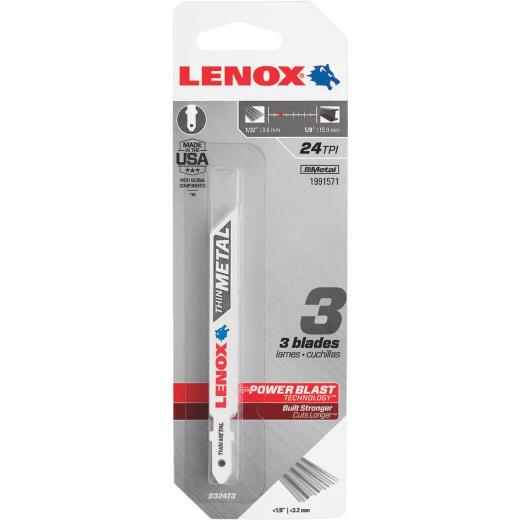 Lenox T-Shank 3-5/8 In. x 24 TPI Bi-Metal Jig Saw Blade, Thin Metal Less than 1/8 In. (3-Pack)
