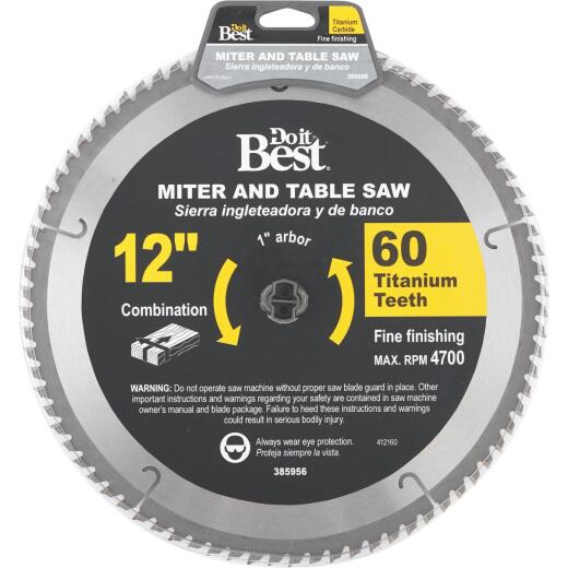 Do it Best Professional 12 In. 60-Tooth Fine Crosscut/Plywood Circular Saw Blade