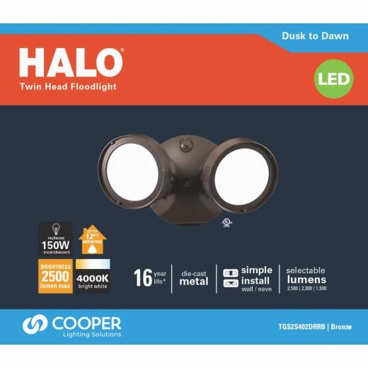Halo Bronze Dusk to Dawn Lumen Selectable LED Floodlight Fixture