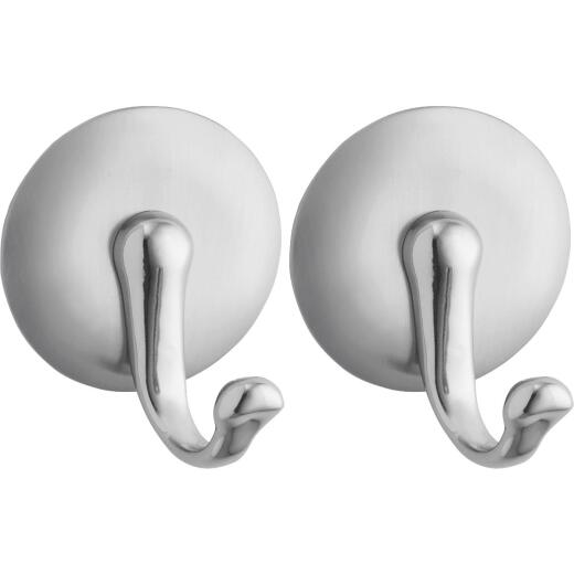 InterDesign York Round Silver Metal Adhesive Hook (2-Pack)