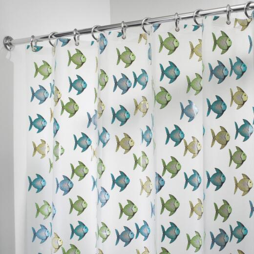 InterDesign York Graphic 72 In. x 72 In. Blue/Green Fish Eva Shower Curtain