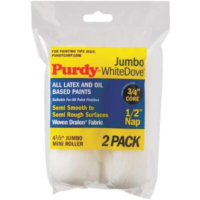 Purdy White Dove 4-1/2 In. x 1/2 In. Jumbo Mini Woven Fabric Roller Cover (2-Pack)