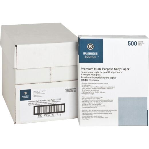 Business Source 8-1/2 In. x 11 In. 20 Lb. White Copier Paper, 2500 Sheets
